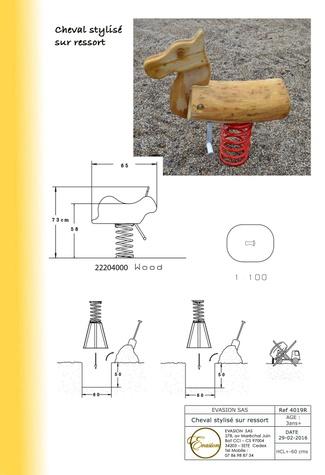 4019 R - Cheval stylisé sur ressort